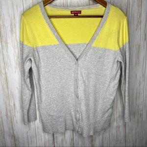Merona color block 3/4sleeve button front cardigan